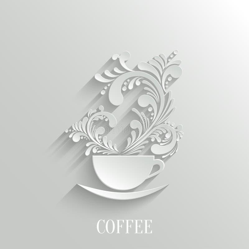 Taza abstracta 3d de café con el aroma floral stock de ilustración