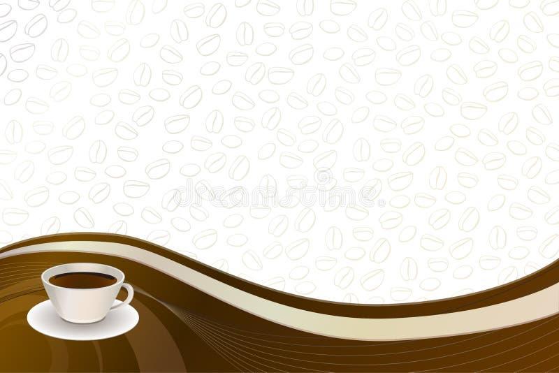 Taza abstracta del beige del marrón del café del fondo ilustración del vector