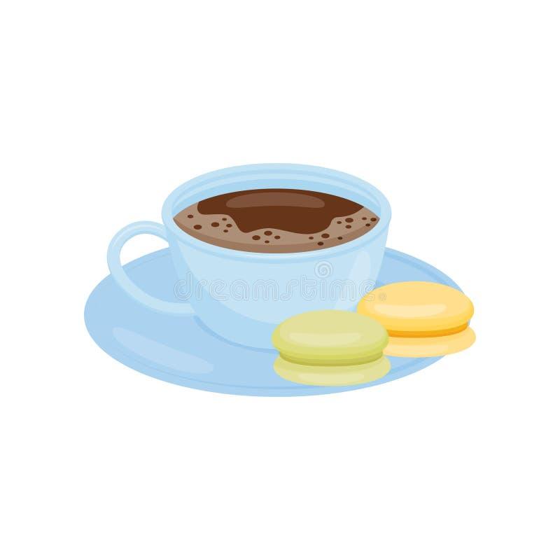 Taza azul de café o de té caliente con los macarrones sabrosos en el platillo Bebida deliciosa Icono plano del vector libre illustration