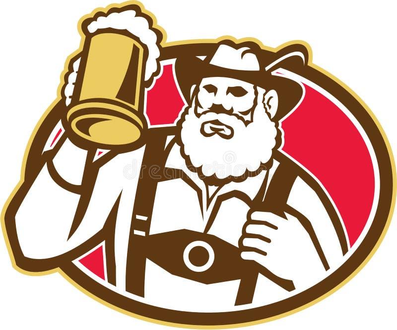Taza bávara del bebedor de cerveza retra ilustración del vector