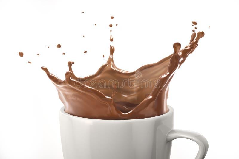 Taza blanca con el chapoteo del chocolate con leche En el fondo blanco Ciérrese encima de la visión imagen de archivo libre de regalías