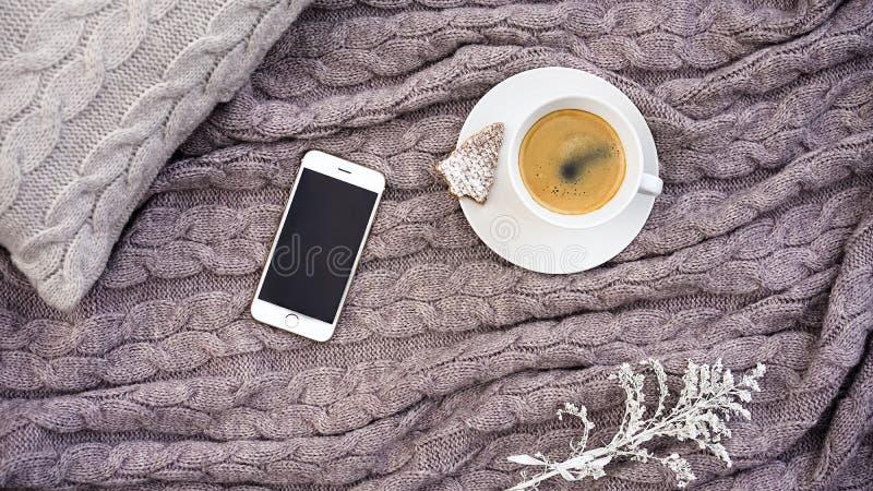Taza blanca de café aromático caliente con la galleta de la galleta de Bélgica en t fotos de archivo libres de regalías