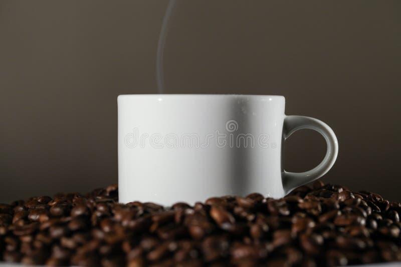 Taza blanca en granos de café imagenes de archivo