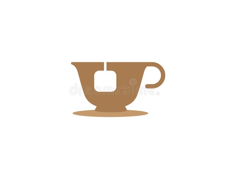 Taza caliente de té en una taza con la menta para el diseño del logotipo libre illustration