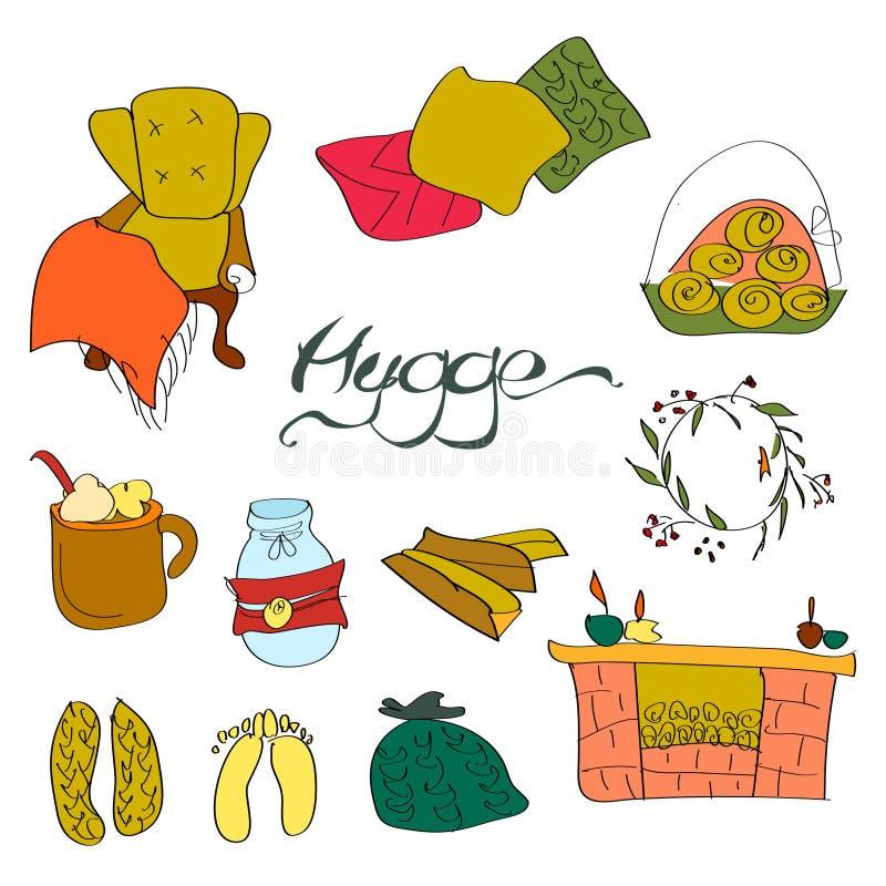 Taza caliente del invierno casero acogedor del hygge del vector de café para relajar el sistema del ejemplo del fin de semana de  ilustración del vector