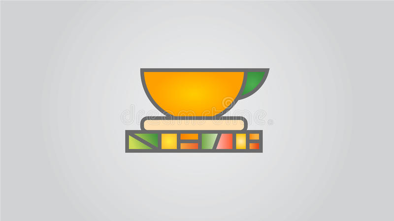 Taza coloreada en un soporte foto de archivo libre de regalías
