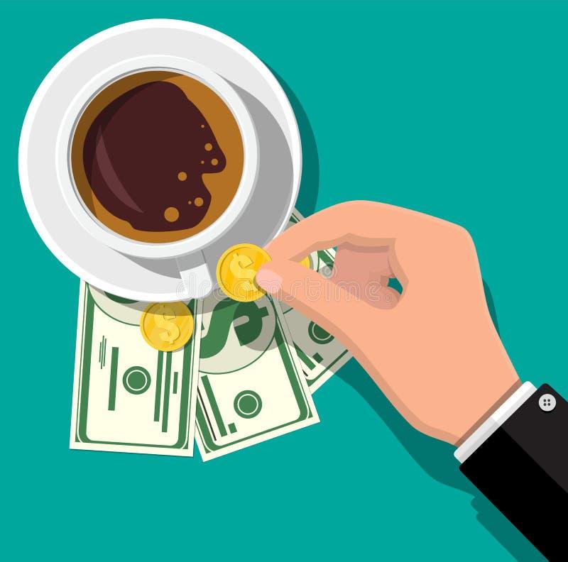 Taza con café, efectivo y monedas libre illustration