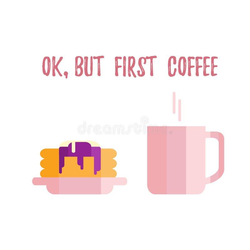 Taza con café y crepes con salsa y la cucharada del helado libre illustration