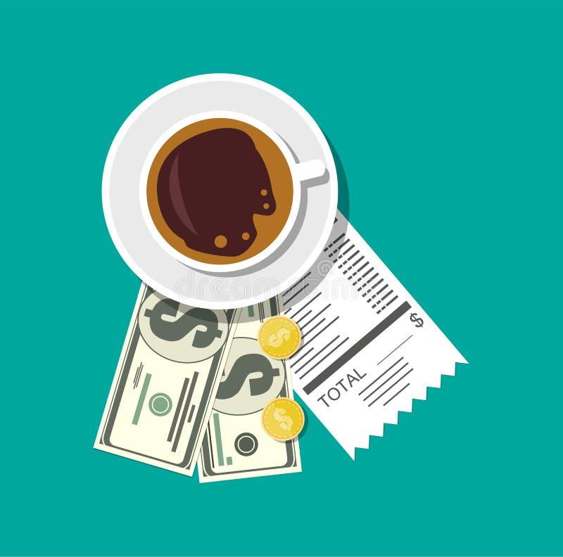 Taza con el café, el efectivo y las monedas, cheque de caja stock de ilustración