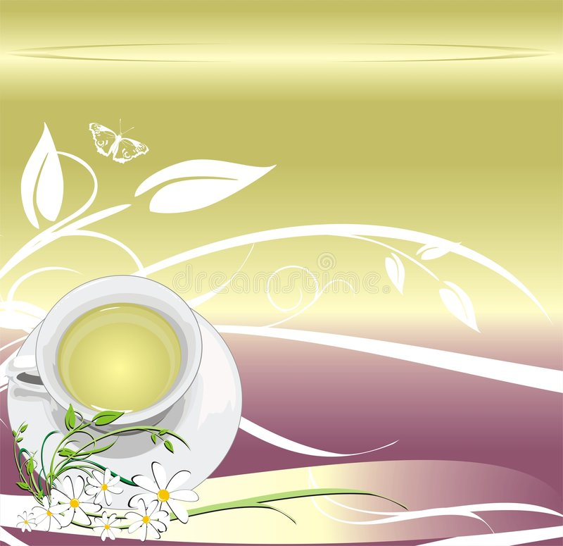 Taza con té. Fondo abstracto para envolver stock de ilustración