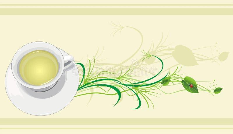 Taza con té, la puntilla y la mariquita libre illustration