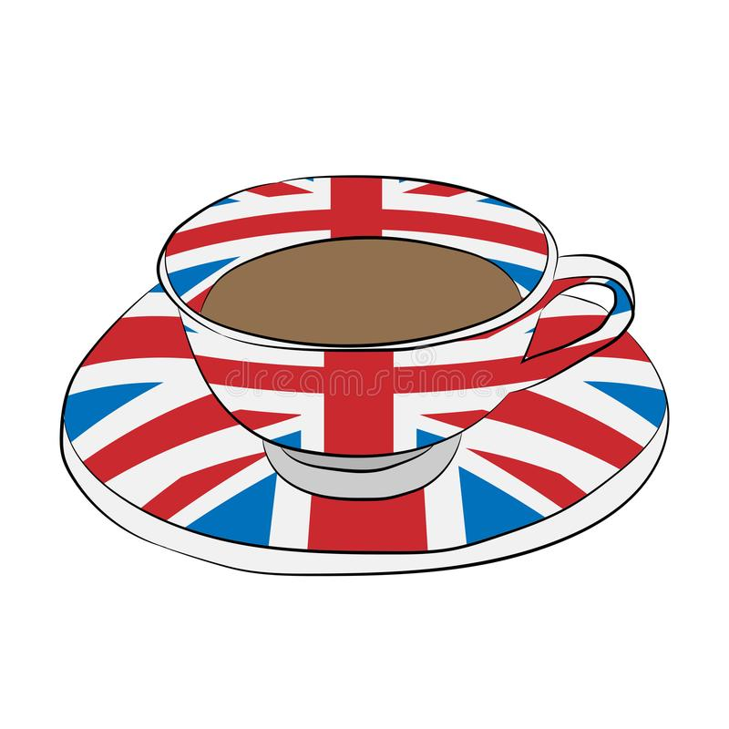 Taza con una bandera de Gran Bretaña ilustración del vector