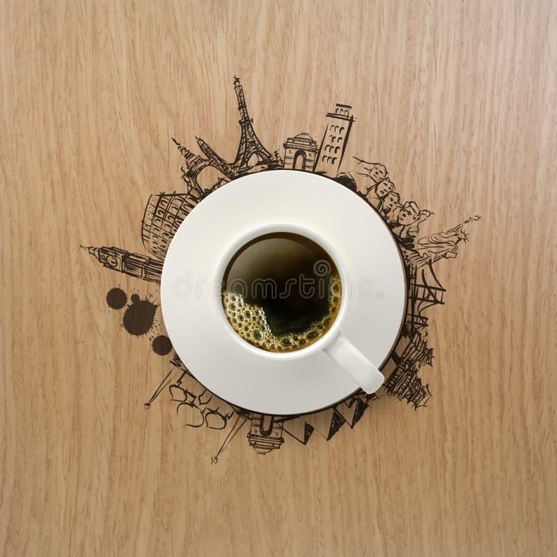 taza 3d de café que viaja en todo el mundo fotografía de archivo