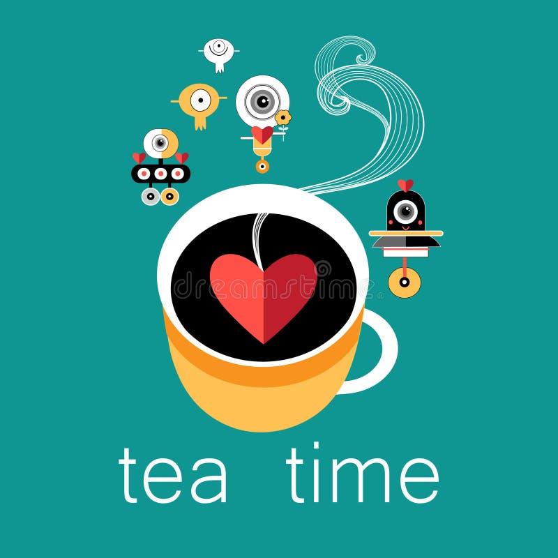 Taza de amantes y de robots del té ilustración del vector