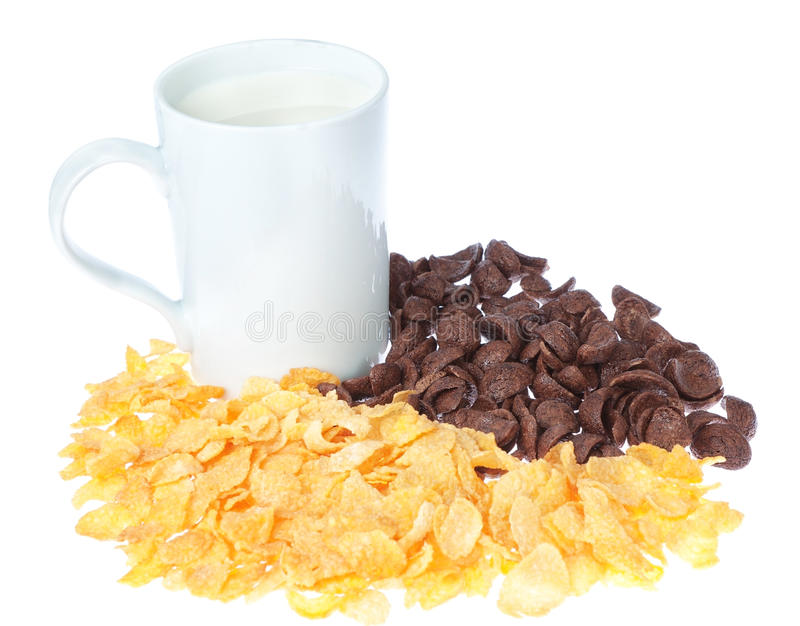 Taza de avenas de la leche y del chocolate. fotografía de archivo libre de regalías