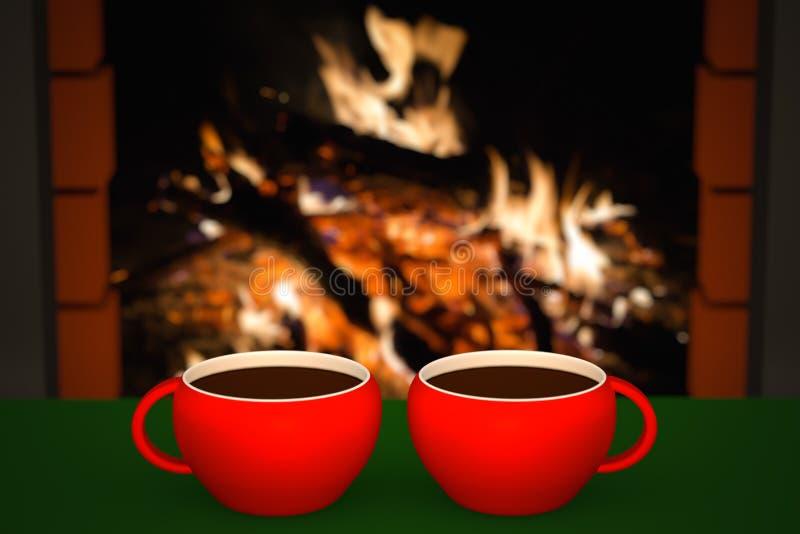 Taza de bebida caliente delante de la chimenea caliente foto de archivo libre de regalías