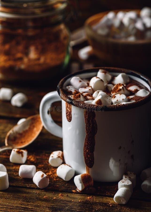 Taza de cacao con la melcocha fotos de archivo libres de regalías