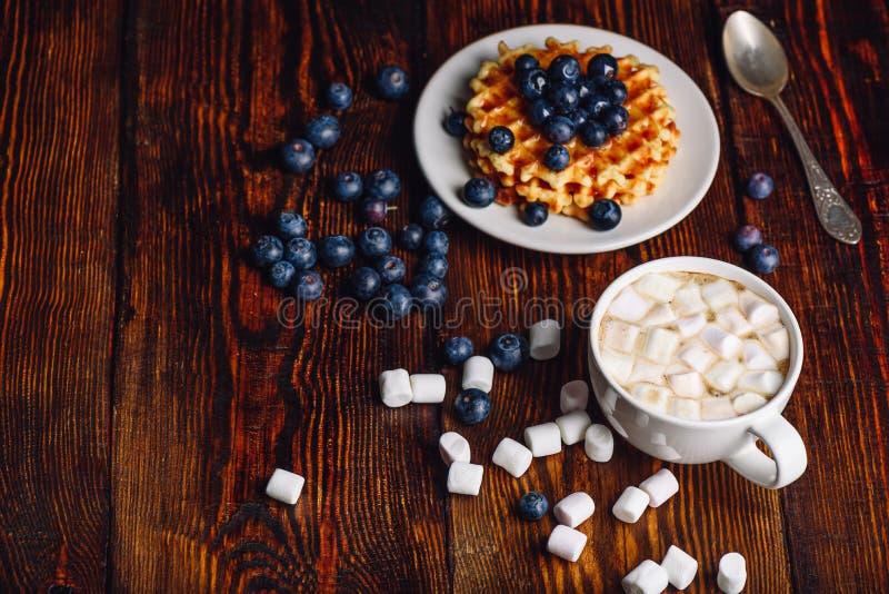 Taza de cacao y de galletas con el arándano imagen de archivo libre de regalías