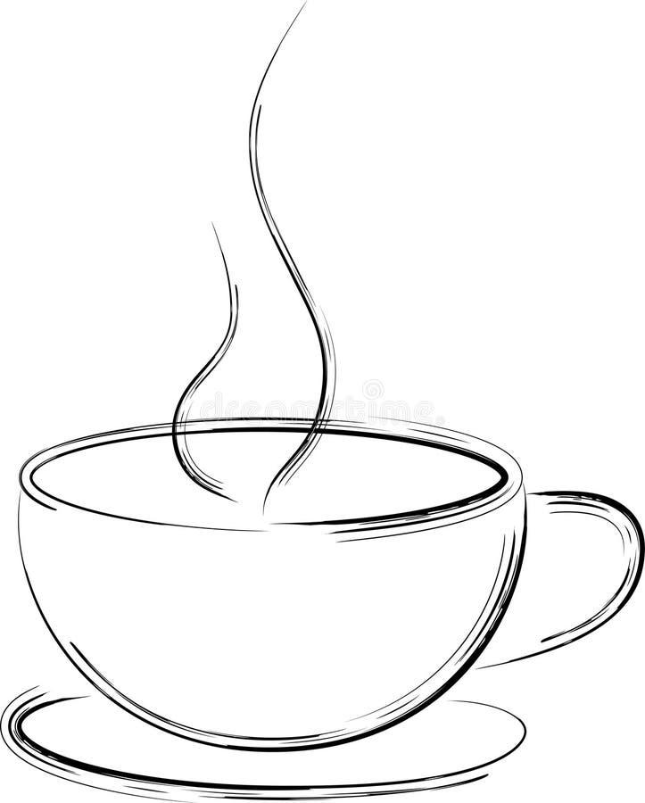 Taza de café artística stock de ilustración