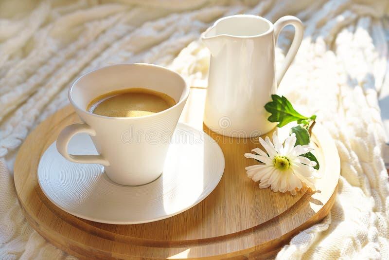Taza de café blanca con leche y la flor en una bandeja de madera redonda en la tela escocesa hecha punto acogedora en luz del sol imagen de archivo