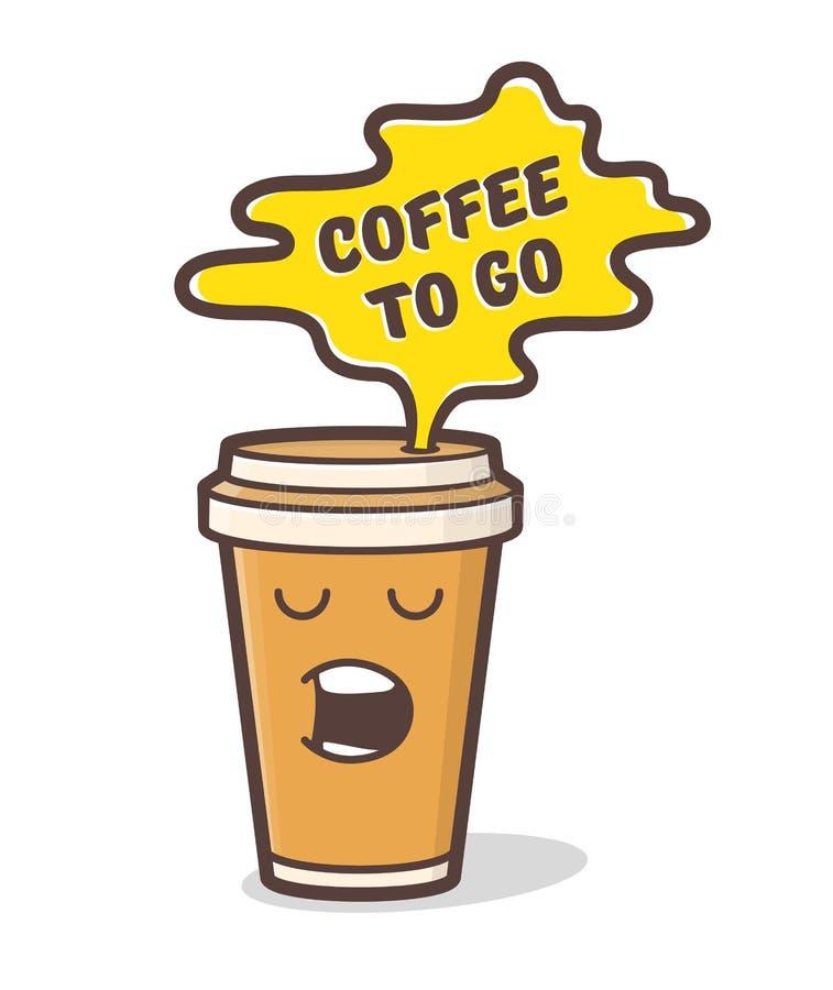Taza de café cómica de la historieta Ilustración del vector libre illustration