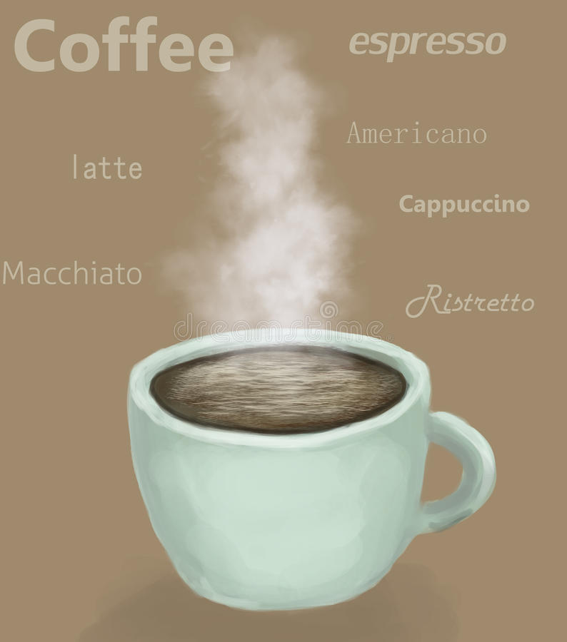 Taza de café, café express, latte fotografía de archivo libre de regalías