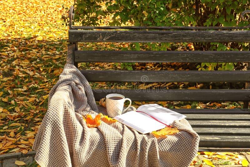 Taza de café caliente con la tela escocesa, el cuaderno y las hojas de otoño calientes en banco de madera en parque imagenes de archivo