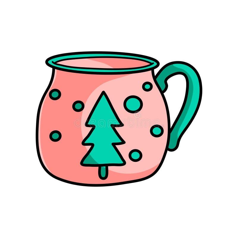 Taza de café candente de la Navidad linda con el árbol de abeto libre illustration