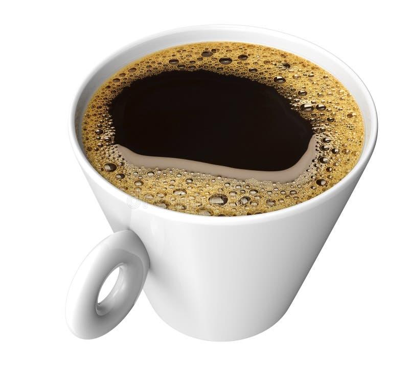 Taza de café con el coffe aislado en blanco fotos de archivo