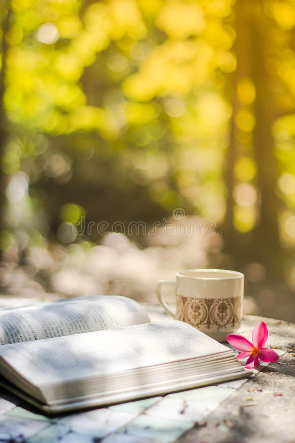 Taza de café con el escritorio de la flor, libro suave de la falta de definición del fondo del foco fotos de archivo libres de regalías