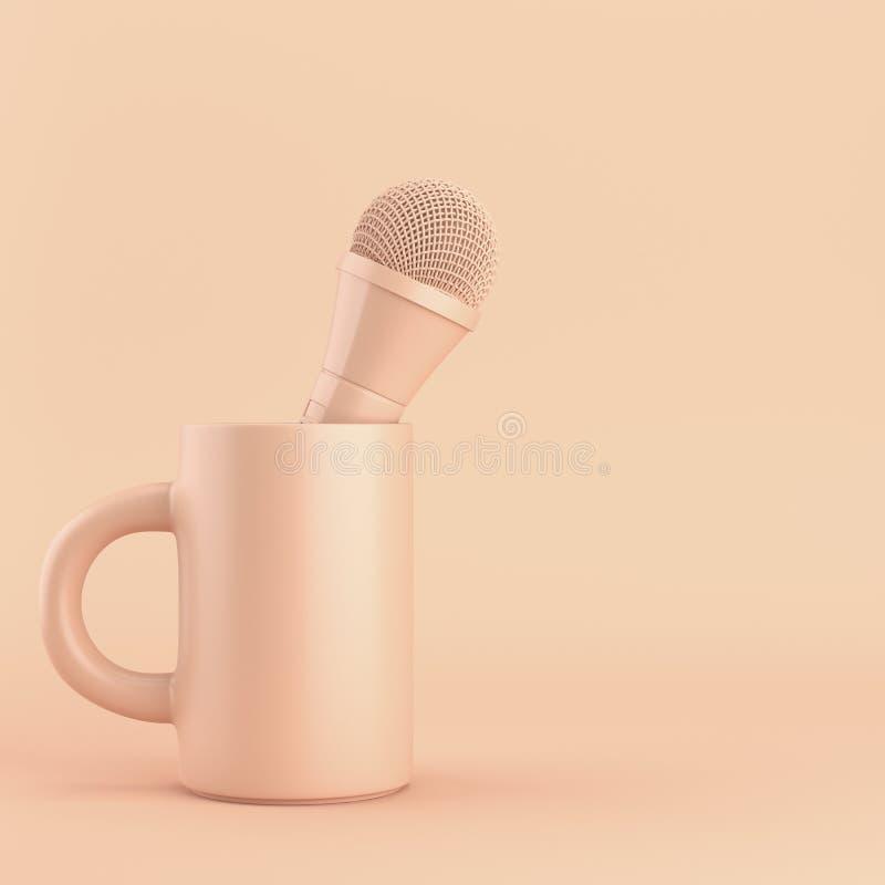 Taza de café con el micrófono en fondo brillante ilustración del vector