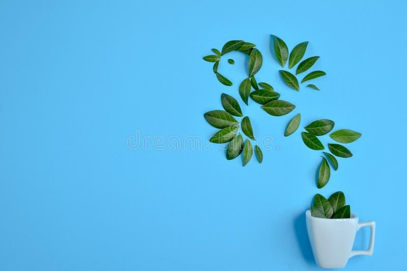 Taza de caf? con el p?jaro hecho de hojas verdes naturales en fondo azul Endecha plana, visi?n superior, espacio de la copia ilustración del vector