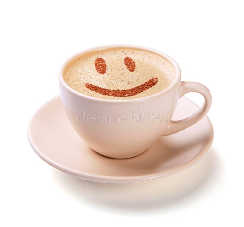 Taza de café con la cara de la sonrisa en espuma Me gusta el descanso para tomar café fotos de archivo libres de regalías