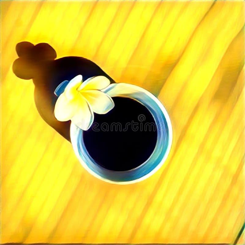 Taza de café con la flor del frangipani en la tabla Ejemplo digital de la endecha plana libre illustration