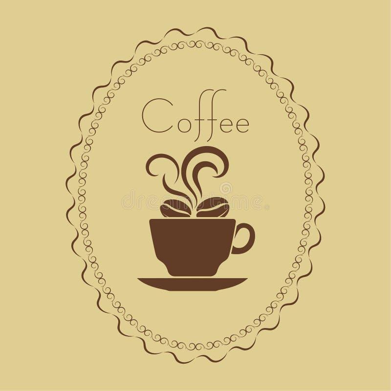Taza de café con las habas en un marco stock de ilustración