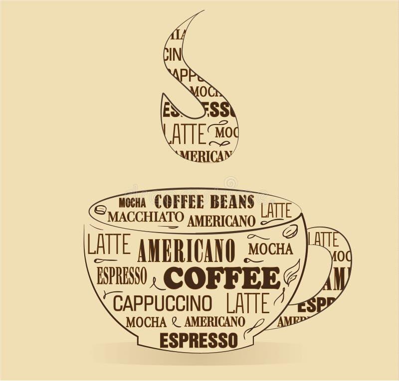 Taza de café con las palabras stock de ilustración
