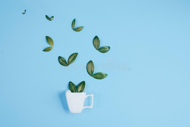 Taza de caf? con los p?jaros hechos de hojas verdes naturales en fondo azul Endecha plana, visi?n superior, espacio de la copia stock de ilustración