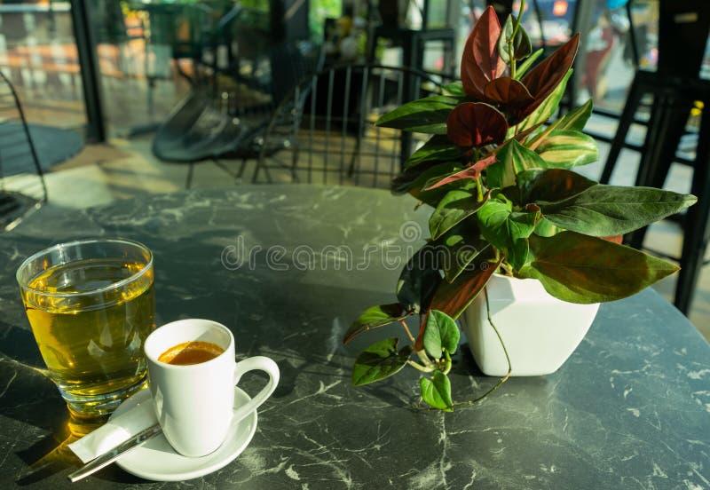 Taza de café con té y el pote ornamental imagen de archivo