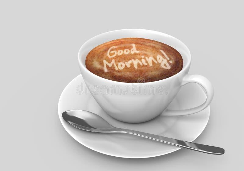 Taza de café con un mensaje de la buena mañana del arte del latte ilustración del vector