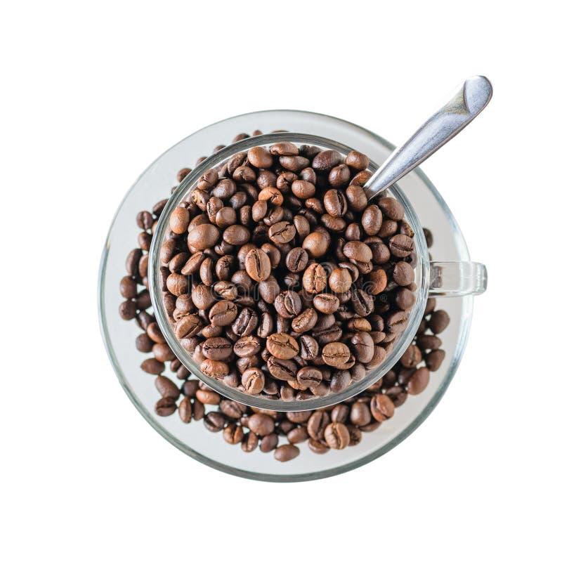 Taza de café de cristal llenada de los granos de café asados con la cuchara aislada en el fondo blanco La visión desde la tapa Gr fotos de archivo