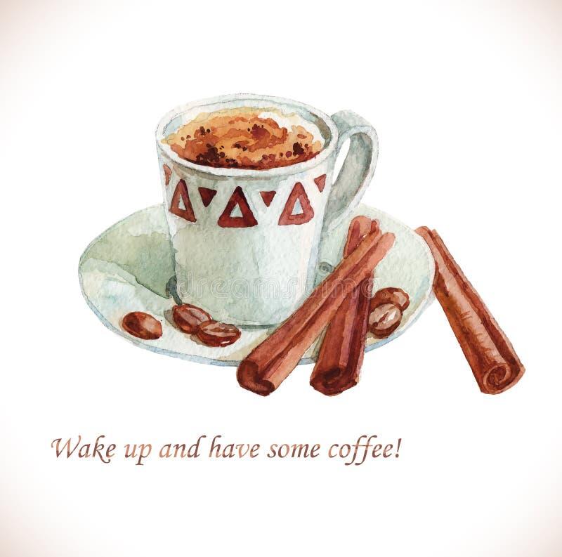 Taza de café de la acuarela con los granos de café ilustración del vector