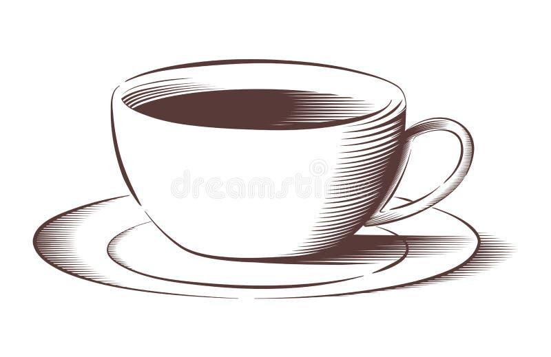 Taza de café del vector en estilo grabado libre illustration