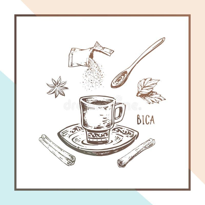 Taza de café dibujada mano Diseño del cartel del vector ilustración del vector
