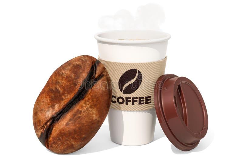Taza de café disponible con los granos de café, representación 3D stock de ilustración
