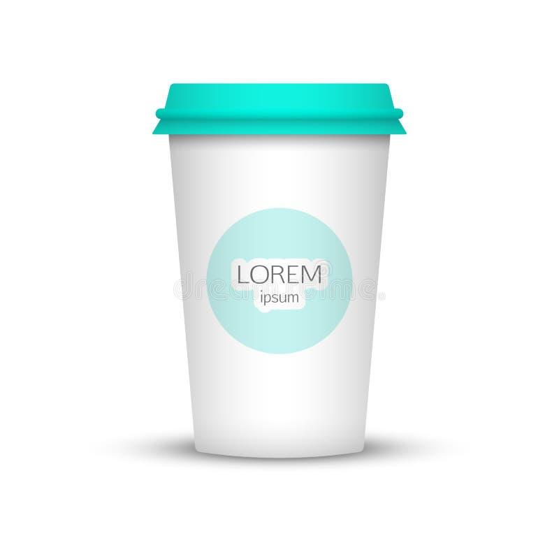 Taza de café en blanco para representar su desing stock de ilustración