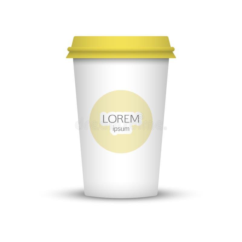 Taza de café en blanco para representar su desing ilustración del vector