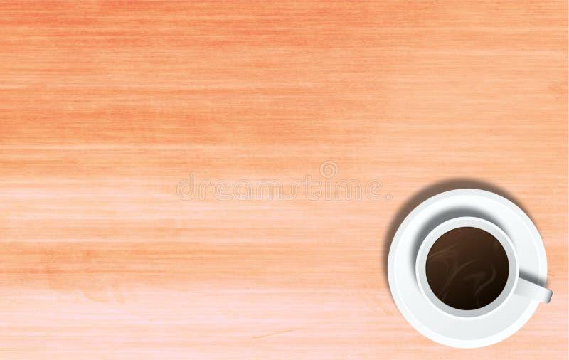 Taza de café en el fondo de la tabla imagen de archivo libre de regalías