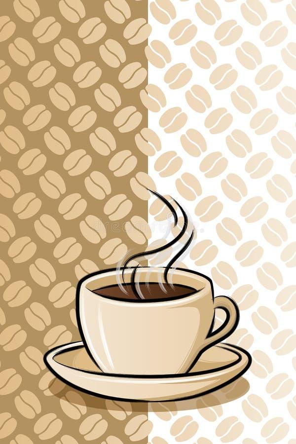 Taza de café en fondo de la haba ilustración del vector