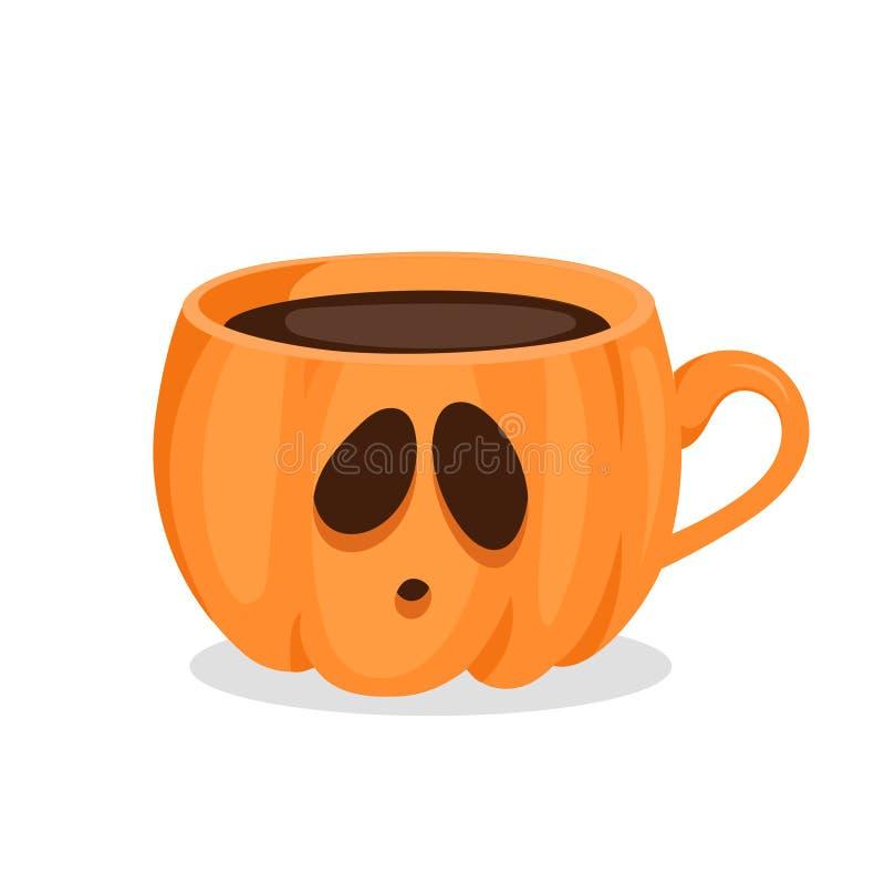 Taza de café en la forma de calabaza con la cara triste stock de ilustración