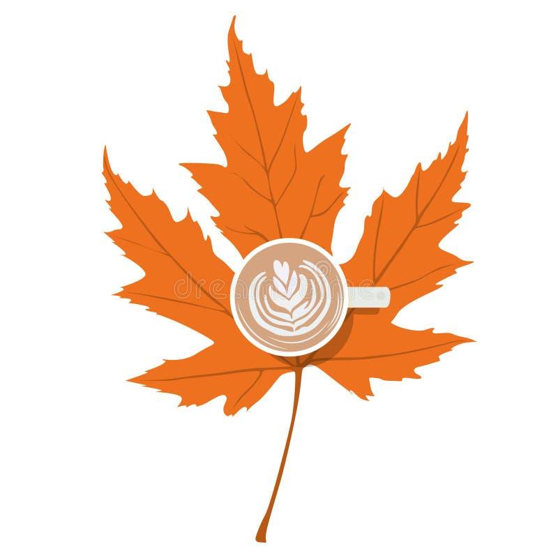 Taza de café en un buen arte del vector del día soleado del humor del otoño de la hoja de las memorias amarillas del día agradabl libre illustration